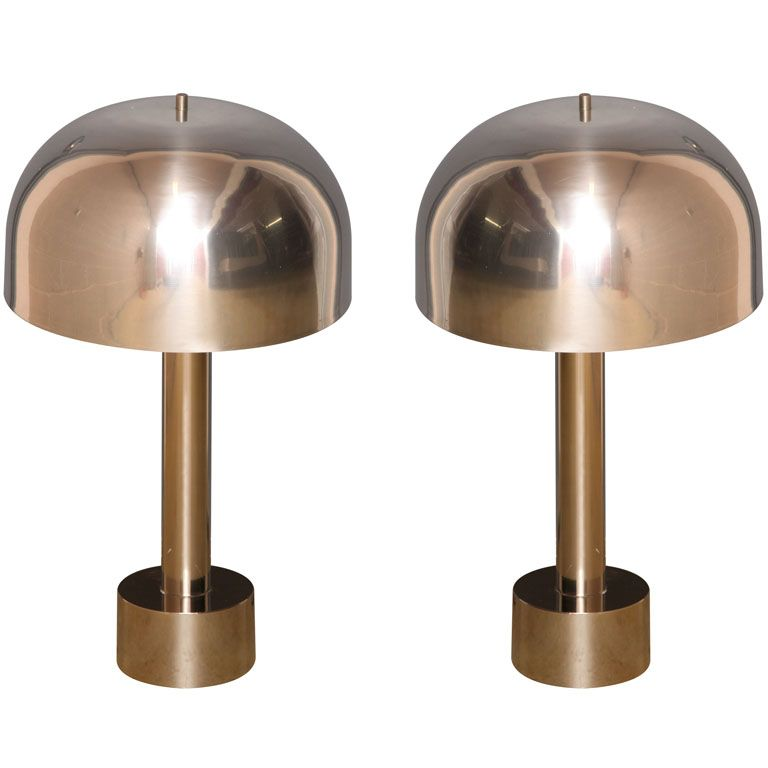 Chrome table lamps by laurel pinterest chrome lights and office pair of laurel table lamps usa 1950s a pair of chrome mushroom table lamps by laurel aloadofball Gallery