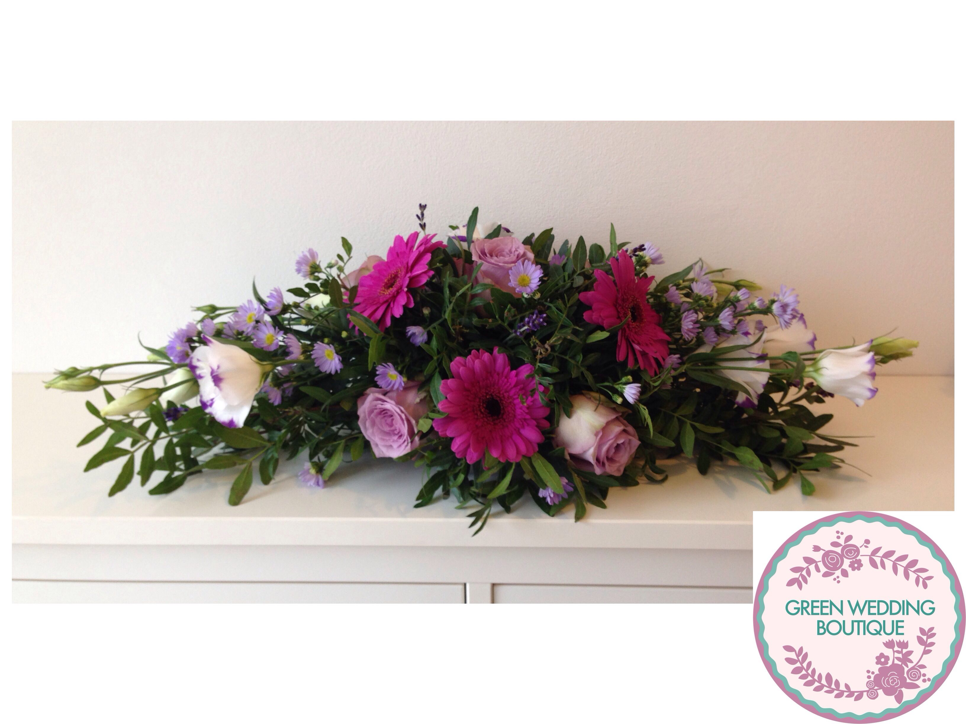 Low Long Table Flower Arrangement Gerbera Roses Lavender Purple Aster Beautiful Flowers Flower Arrangements Table Flower Arrangements Wedding Flowers