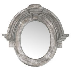 """Hand-carved salvaged wood wall mirror with crown moldings and a gray finish.  Product: Wall mirrorConstruction Material: Salvaged wood and mirrored glassColor: GrayFeatures: Hand-carvedDimensions: 28"""" H x 30"""" W x 5"""" D"""