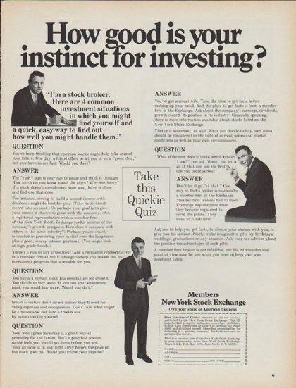 1968 New York Stock Exchange Vintage Ad How Good Is Your Instinct