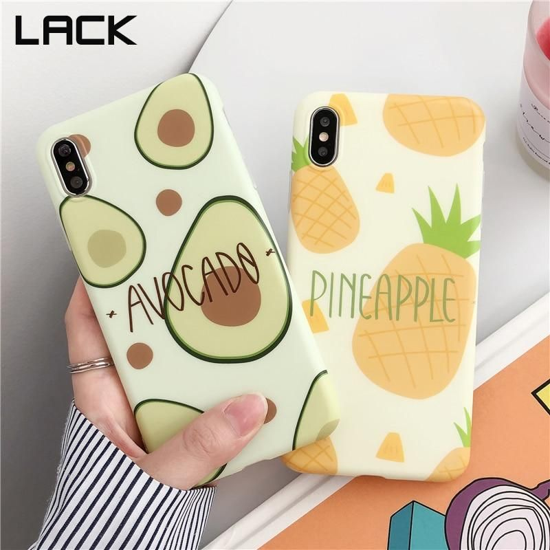 LACK Summer Cool fruit avocado pineapple phone cases for iphone 8 Plus 6 6S 7 X Cases For iphone XS Max XR Soft IMD Back Cover