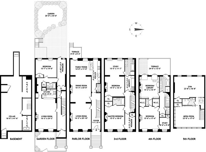 7 5m Brownstone Floorplan Floor Plans Brownstone Interior Design Portfolio