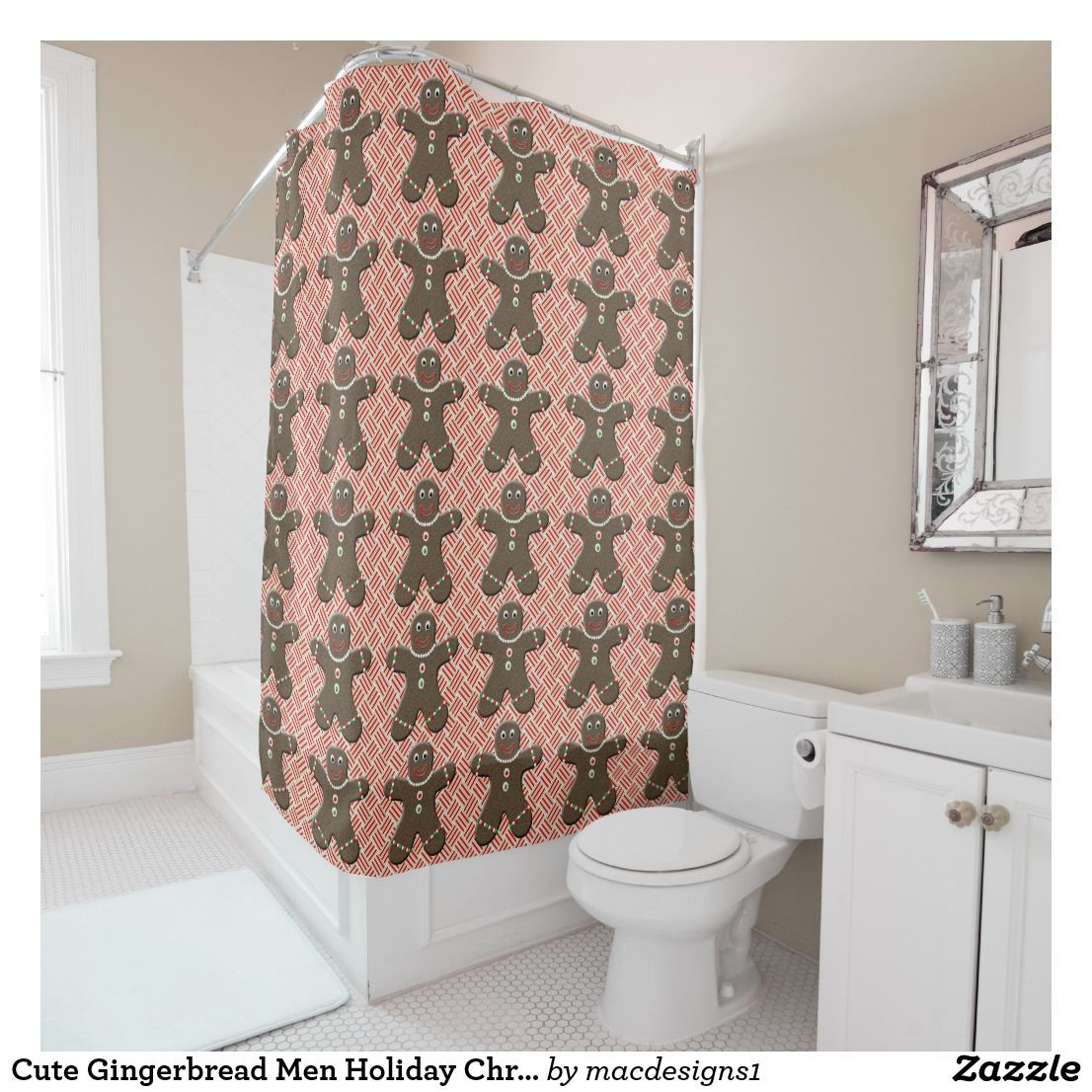 Cute Gingerbread Men Holiday Christmas Shower Curtain