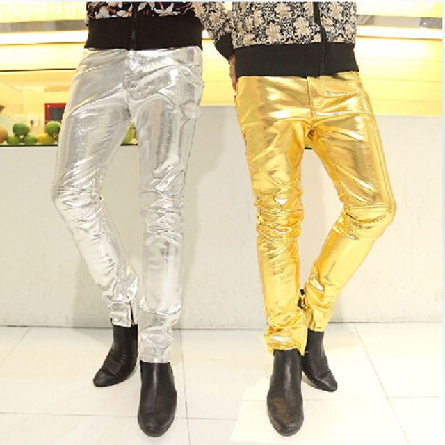 Everbeauty Mens Modern Shiny PU Leather Pants For Nigntclub//Dance