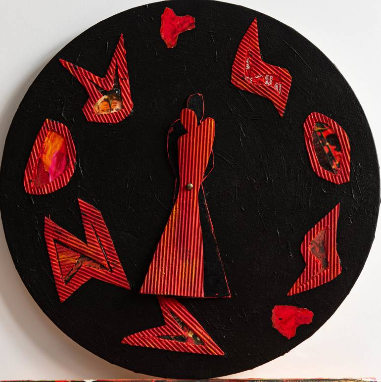 """Saatchi Art is pleased to offer the painting, """"Sos amor, Walz in red and black,"""" by marie helene visconti, available for purchase at $500 USD. Original Painting: Canvas, Paper, Cardboard on Acrylic, Paper. Size is 15.7 H x 15.7 W x 0.4 in."""