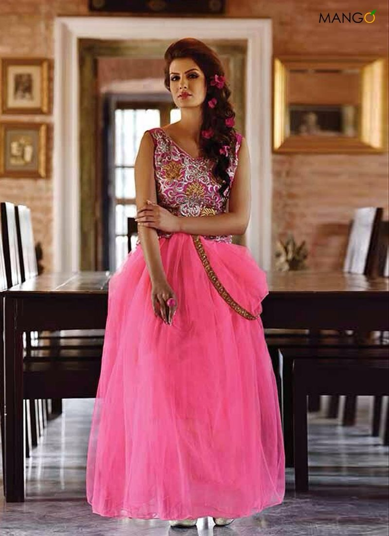 BREATHTAKING PINK COLOR FULL NET DESIGNER GOWN (BOTTOM NOT REQUIRED ...