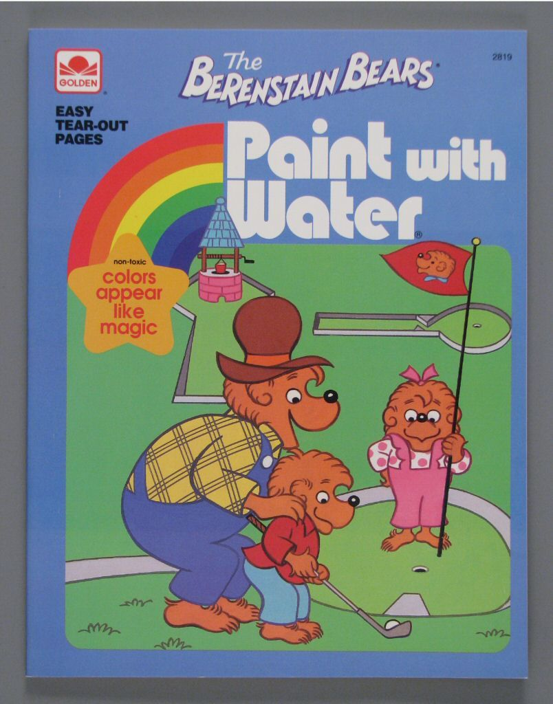 vintage berenstain bears paint with water book 1992 nos childrens golden color activity book - Berenstain Bears Coloring Book