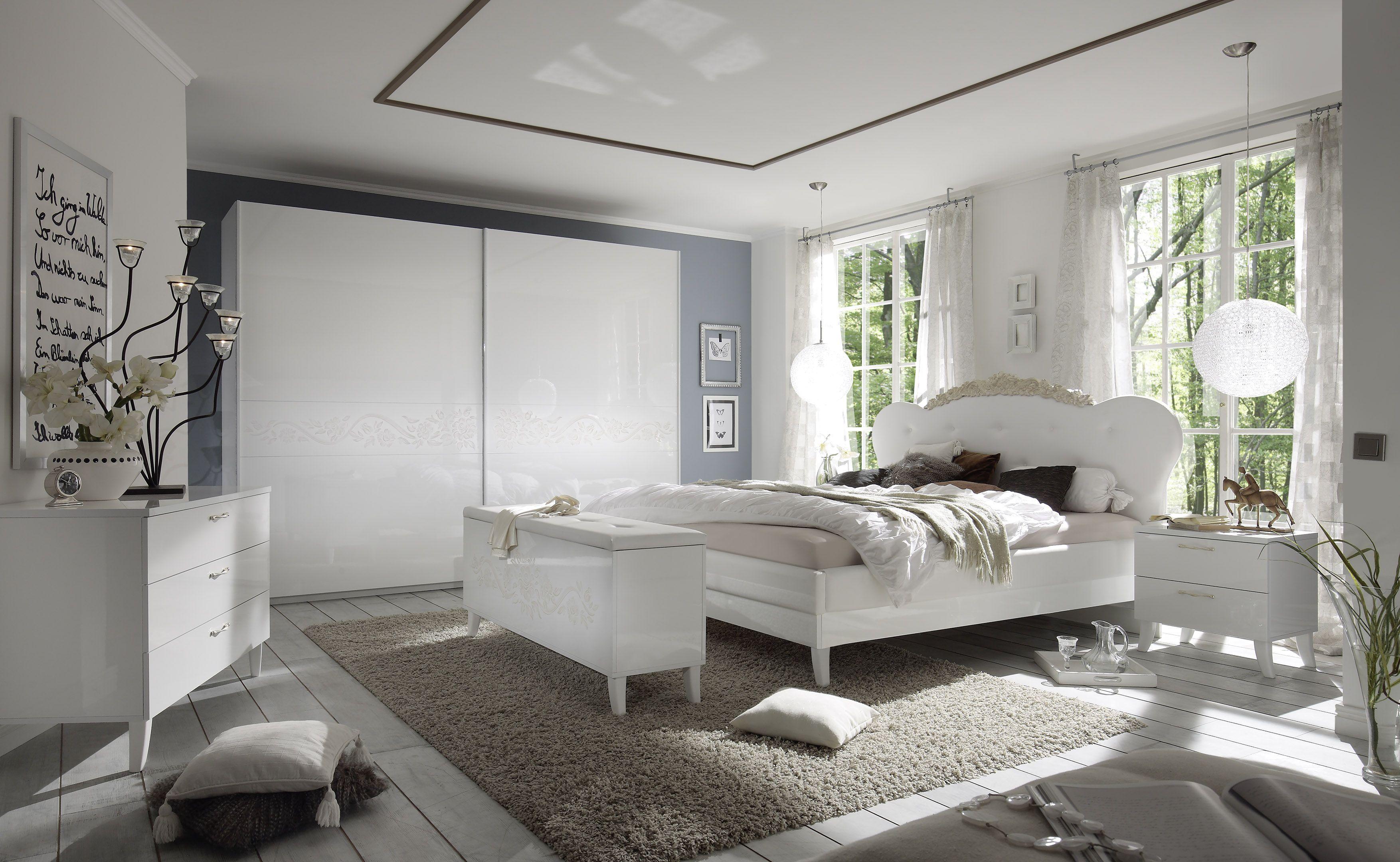 Schlafzimmer Mit Bett 180 X 200 Cm Weiss Echt Hochglanz