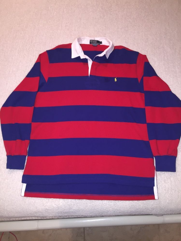 c4259077b Vintage POLO RALPH LAUREN RUGBY SHIRT MENS Size Large RED  NAVY BLUE LONG  SLEEVE  PoloRalphLauren  PoloRugby