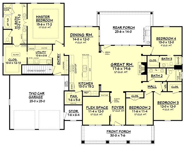 House Plan 041-00117 - Ranch Plan 2,639 Square Feet, 4 Bedrooms, 3