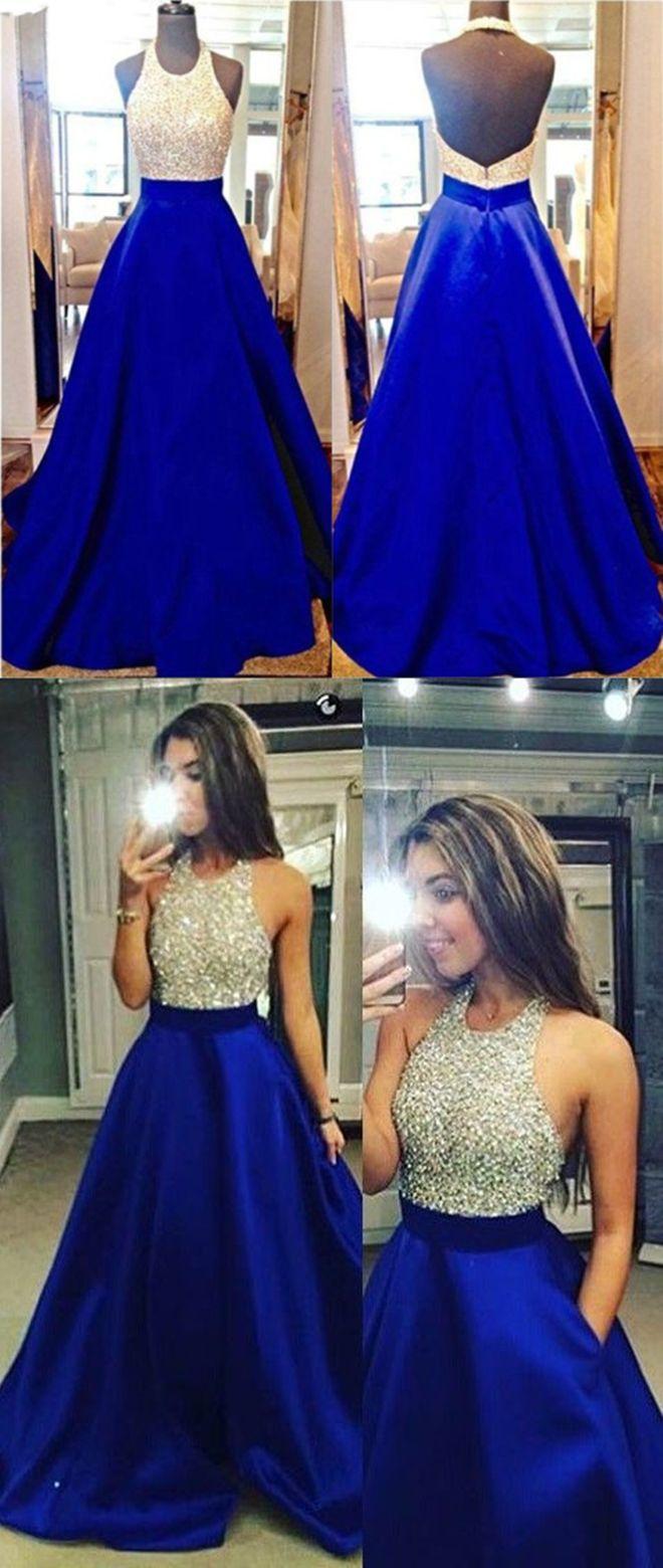 Royal blue prom dressesopen back prom dressesbeaded prom dresses