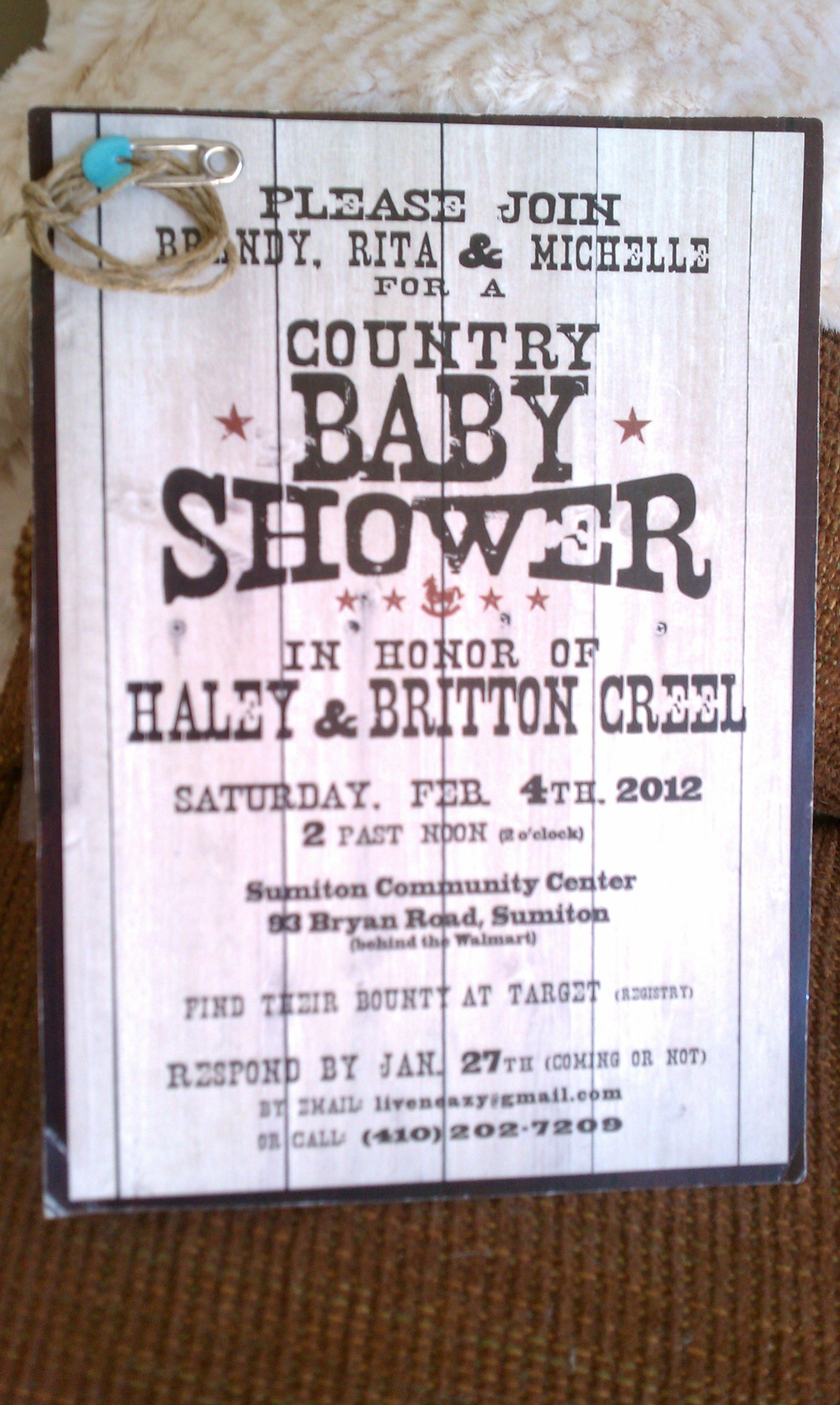 Country baby shower invitation. The template was done by intrigue ...