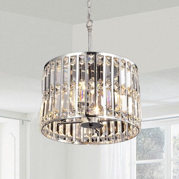 Lighting The Justina Crystal Glass Prism Pendant Chandelier In Chrome Is Crafted From High Quali Pendant Chandelier Ceiling Pendant Lights Chrome Chandeliers