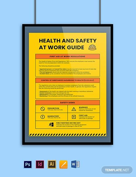 Health & Safety at Work Guide Poster Template - PSD, AI ...