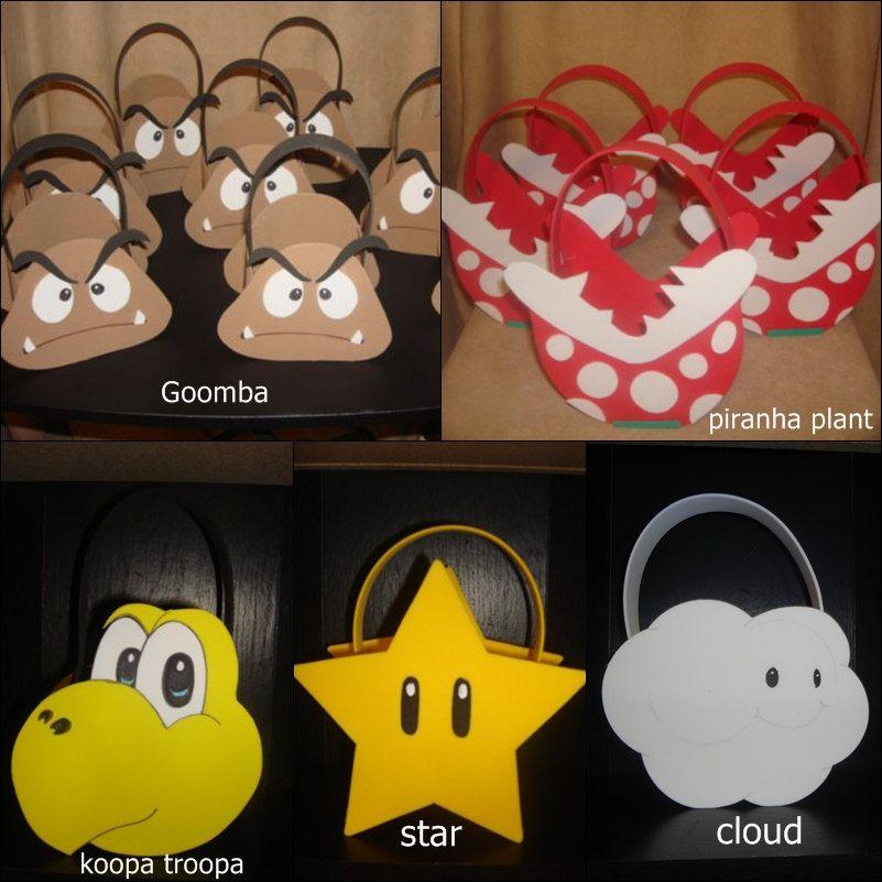 mario party bags | Super Mario Bros Luigi Yoshi Star Inspired party bags favor…
