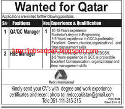 Daily Job Advertisement In Newspapers Qa Qc Manager And Hse