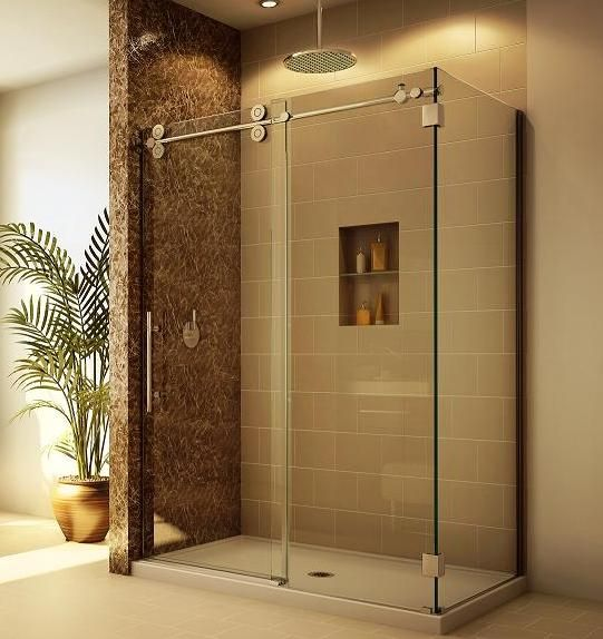 GIVE ME THIS!!! Tile Shower With Sliding Glass Door, Great