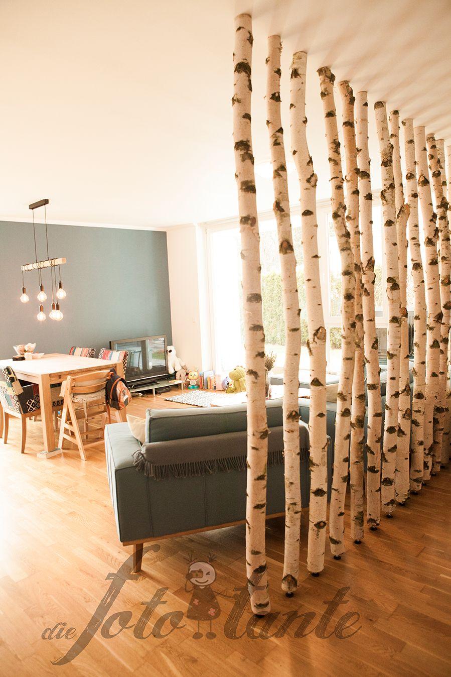 Trennwand Wohnwand Birkenstamme Holz Diefototante Trennwand