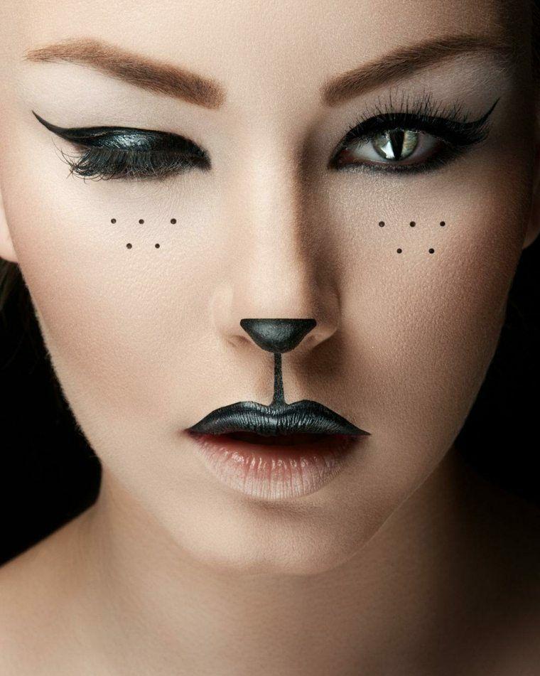maquillajes halloween opciones simples gata mujer ideas - Maquillajes De Halloween