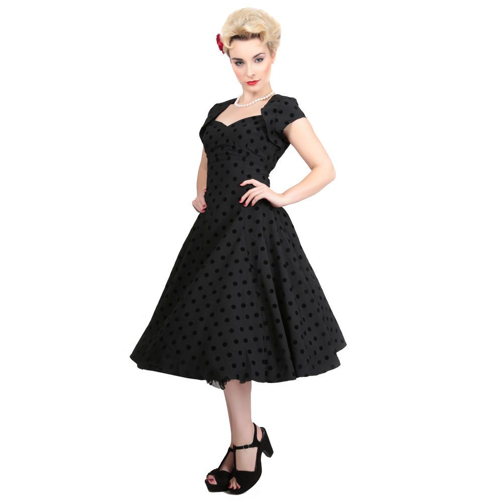 Collectif regina doll black flock dot vintage s retro style prom