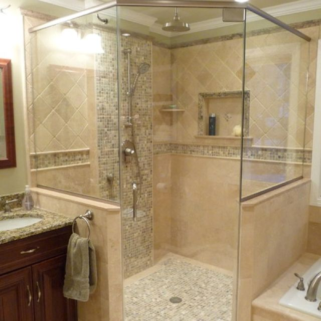 Horizontal Band And Vertical Band Of Mosaic Tile Ideas Pinterest Tile Showers Mosaics And