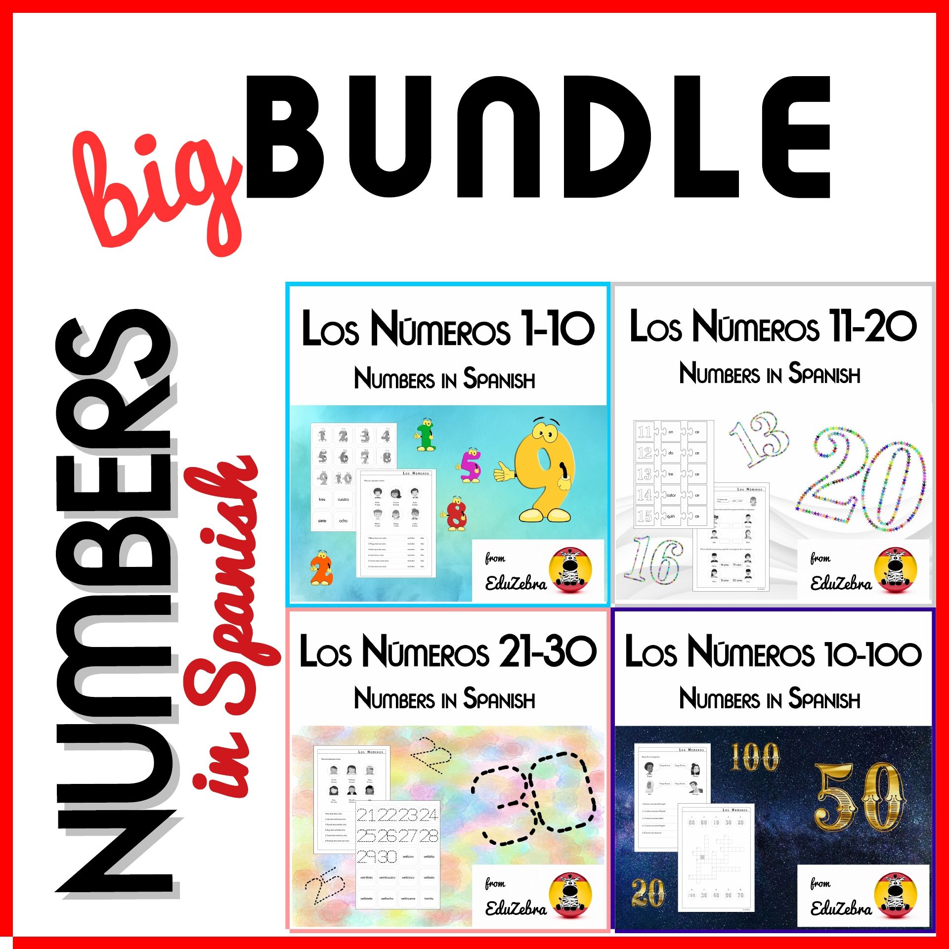 Numbers 1 100 In Spanish Los Numeros En Espanol Worksheets Learning Numbers Word Activities Word Pictures