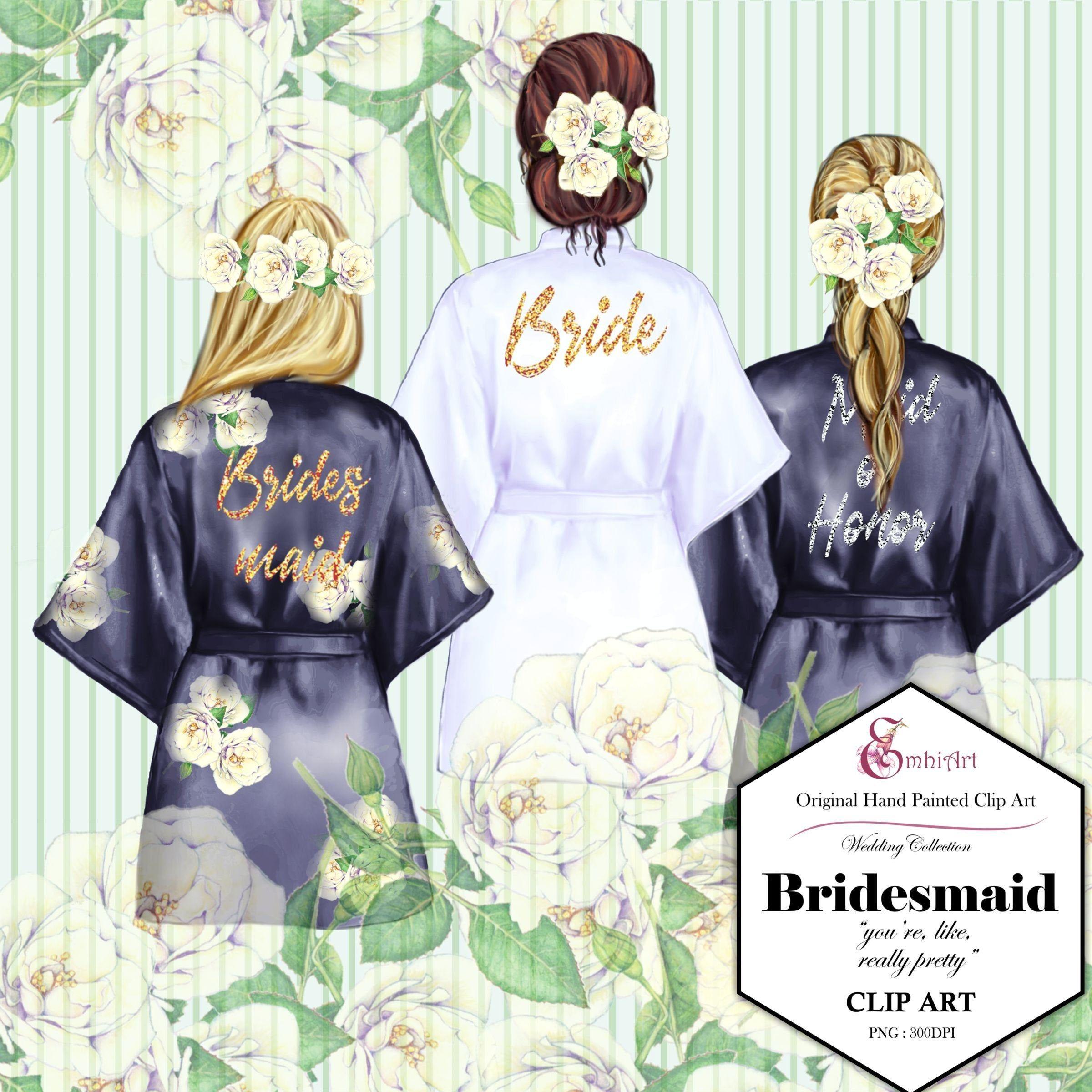 Bridesmaid Robe Clipart Bride Clipart Bridal Shower Maid Of Honor