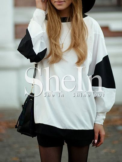 White Black Long Sleeve Color Block T-Shirt -SheIn(Sheinside) Mobile Site