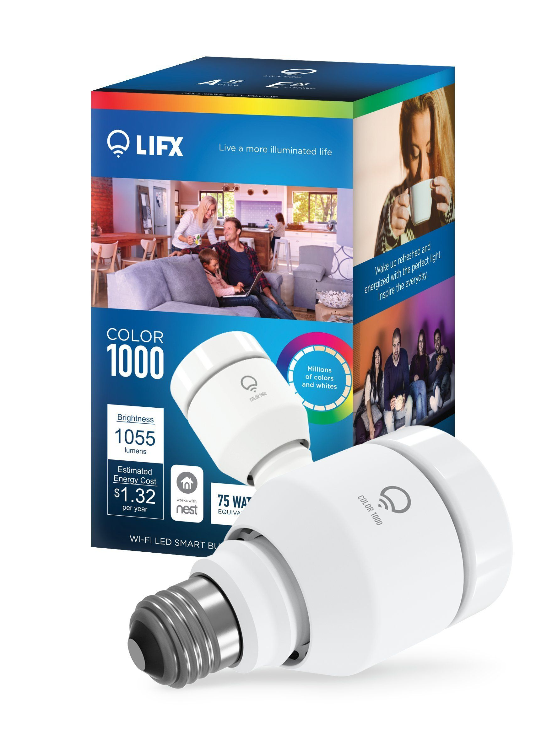 LIFX Color 1000 A19 Wi Fi Smart LED Light Bulb, Adjustable, Multicolor,  Dimmable, No Hub Required     Amazon.com