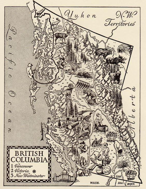 British columbia map art vintage map print 1960s original map british columbia map art vintage map print 1960s original map illustration gumiabroncs Choice Image