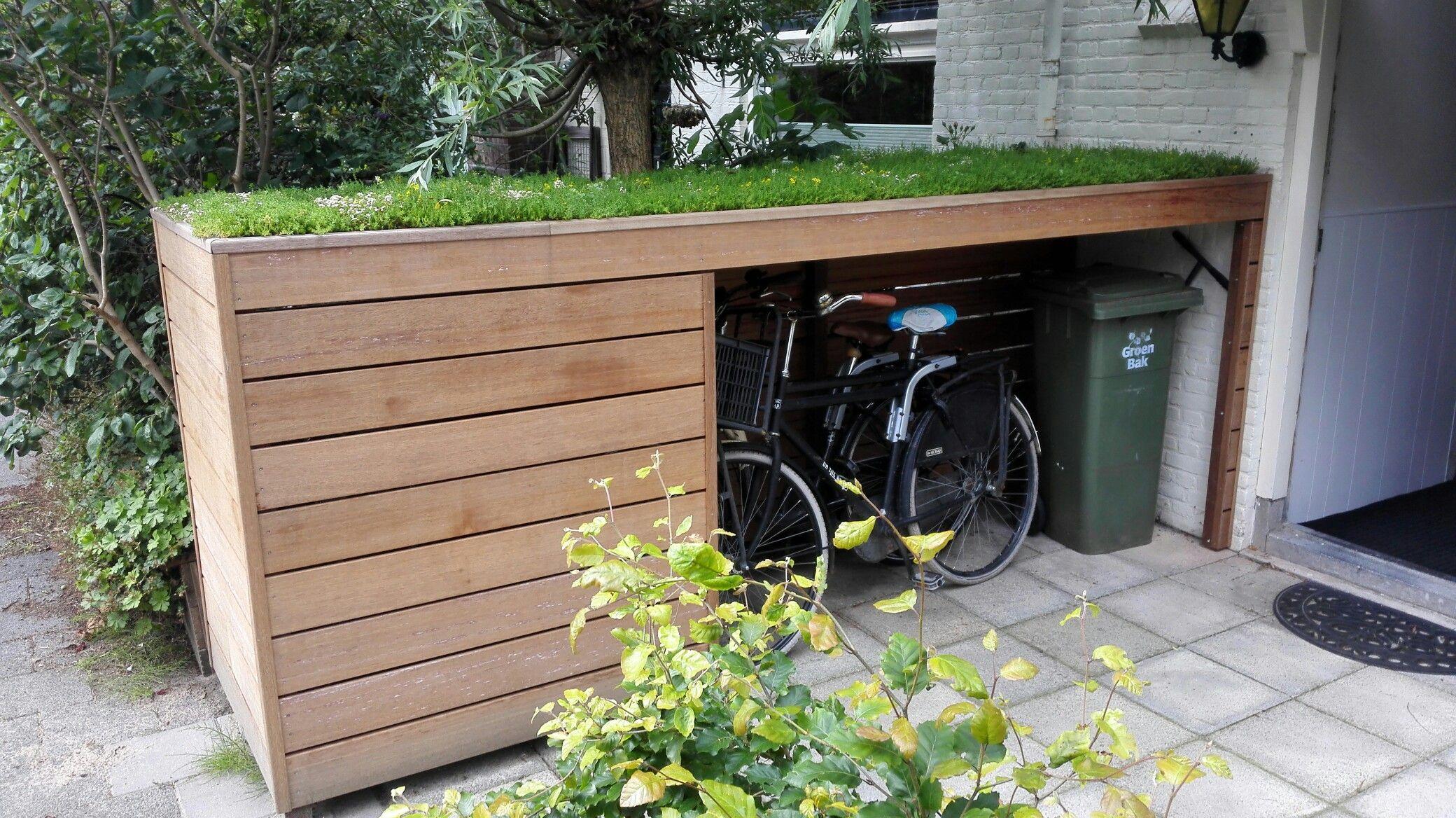 fietsenberging met groen dak garten pinterest g rten m lltonne und fahrradgarage. Black Bedroom Furniture Sets. Home Design Ideas