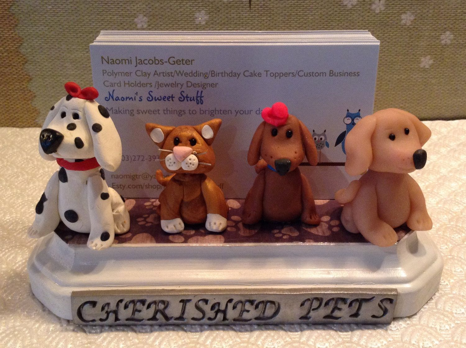 Polymer clay dog business card holdercute dogs by NaomisSweetStuff ...