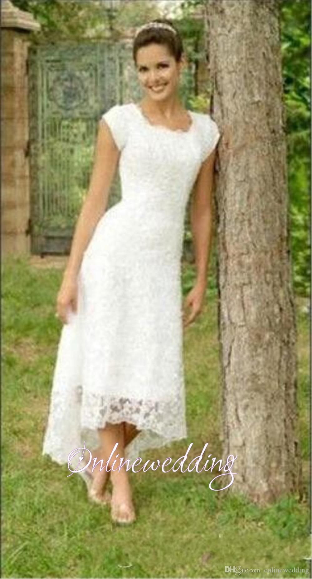 5bed99c63969 Vintage Short Hi Lo Wedding Dresses Tea Length 2016 Full Lace Modest High  Low Beach Sleeves Cheap Elegant Scoop Simple Country Bridal Gowns