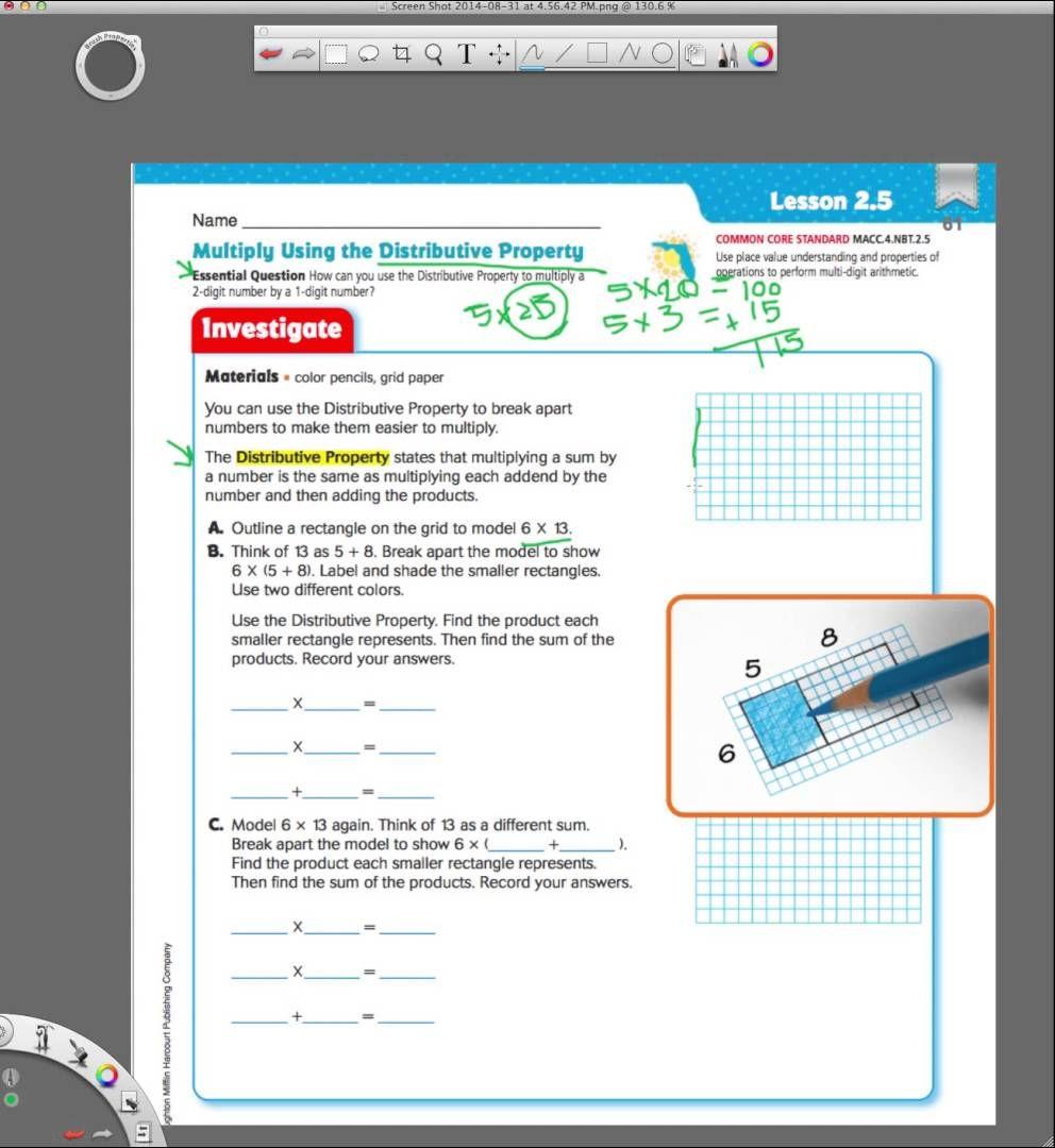 Go Math 2.5 Multiplying Using the Distributive Property   Go math  kindergarten [ 1080 x 992 Pixel ]