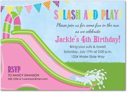 Pink water slide girl pool party invitations pool party bridal shower invitations baby shower invitations birthday invitations party invitations and filmwisefo Choice Image
