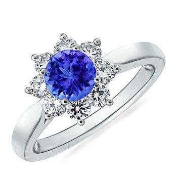 Angara Oval Tanzanite and Diamond Floral Vintage Ring rPWjwqM90
