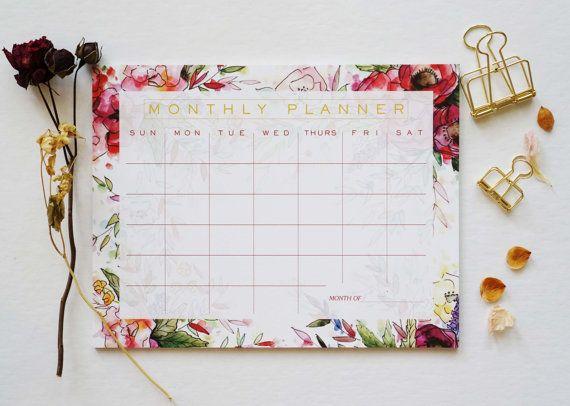 Red Floral Monthly Calendar Desk Pad Desk Calendar Agenda Etsy In 2020 Desk Pad Desk Calendar Pad Desk Calendars