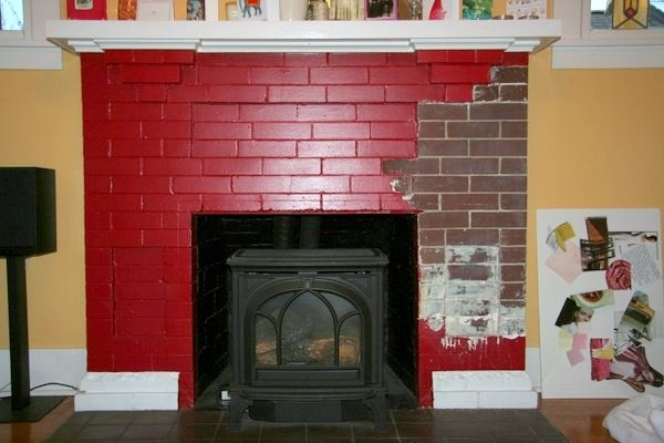 Old Painted Fireplace Mantel Pictures Painting Brick Red Ideas