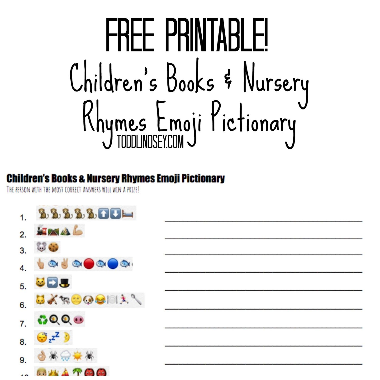 FREE Printable Children s Books & Nursery Rhymes Emoji Pictionary