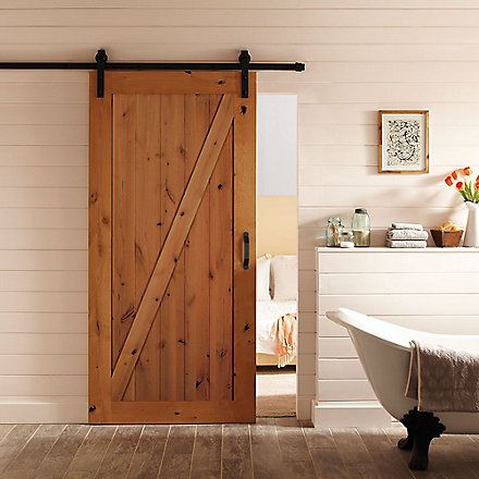 Masonite  Inch X  Inch Z Bar Knotty Alder Wood Interior Barn Door Slab With Sliding Door Hardware Kit The Home Depot Canada