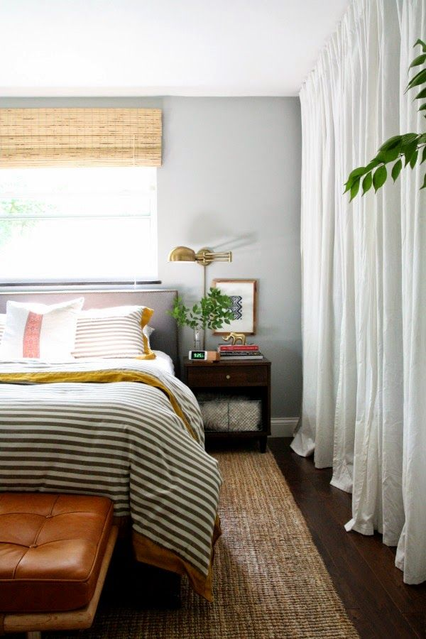 Chalky Gray Walls Floor To Ceiling White Drapes Various