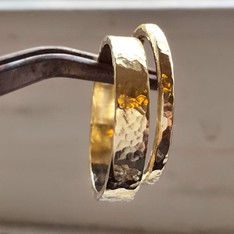 Gold Hammered Wedding Rings Pair Handmade wedding rings
