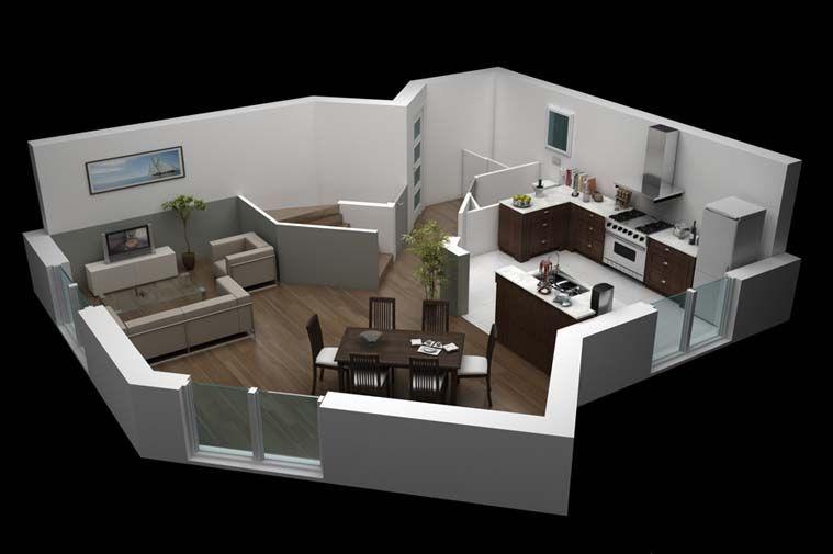 Modèle de #construction de #maison Emoria Vue intérieure Rez-de - modele de construction maison