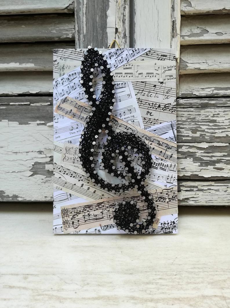 Handmade String-Kunst-Zeichen, Musiknoten, Sol Key, Notenschlüssel, Wanddekoration,