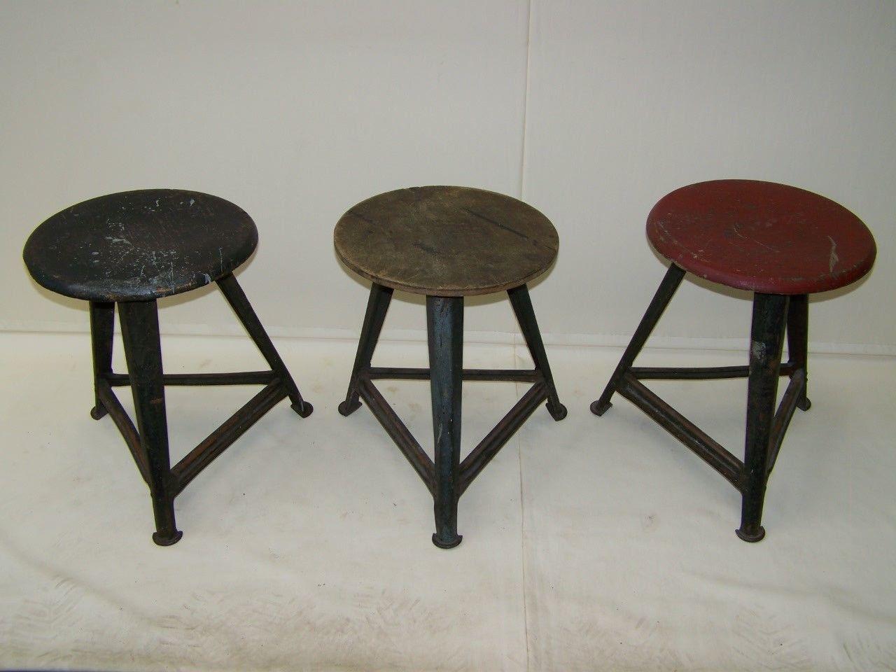 Originale rowac sgabello art deco sgabello da laboratorio vintage