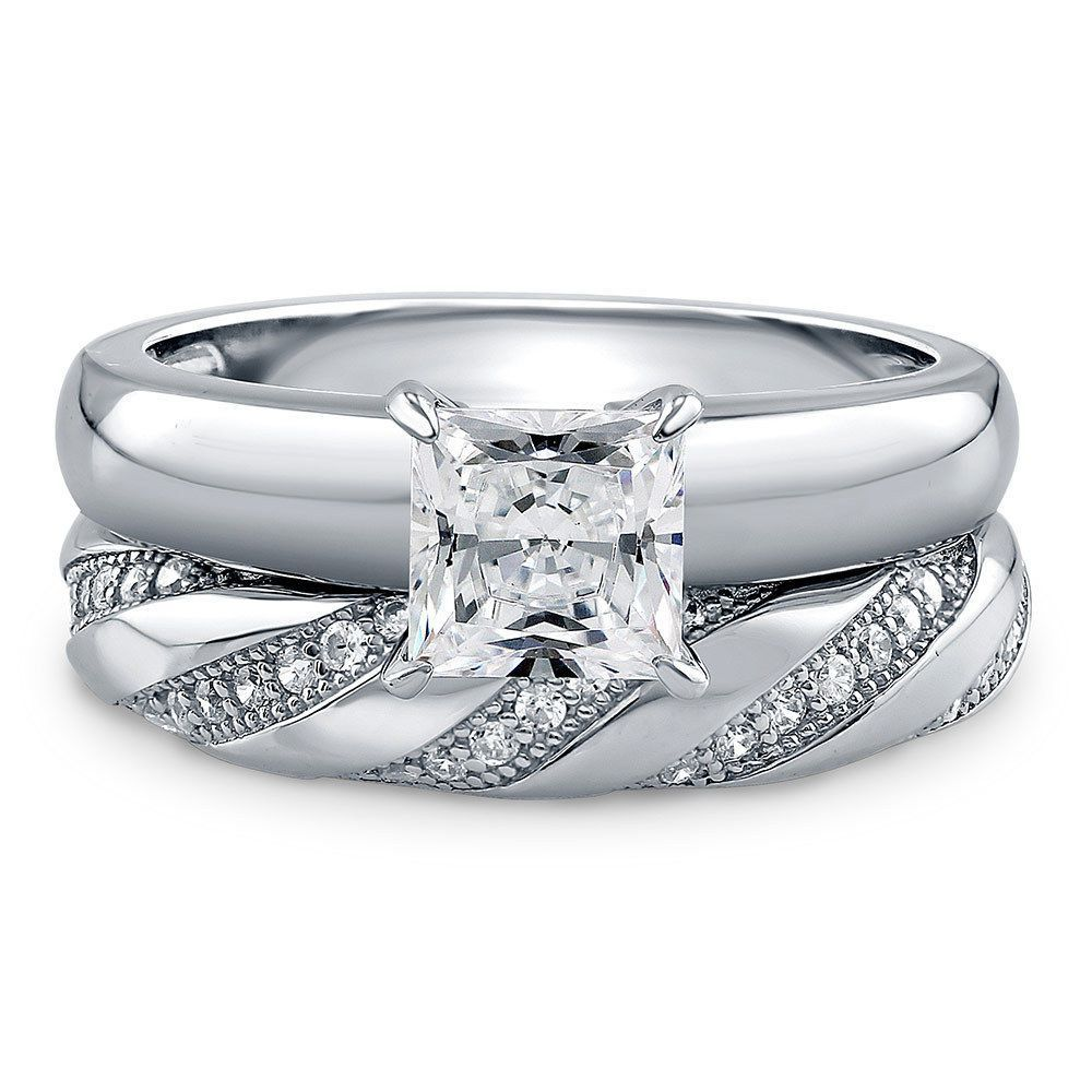 Berricle sterling silver princess cz solitaire engagement ring set