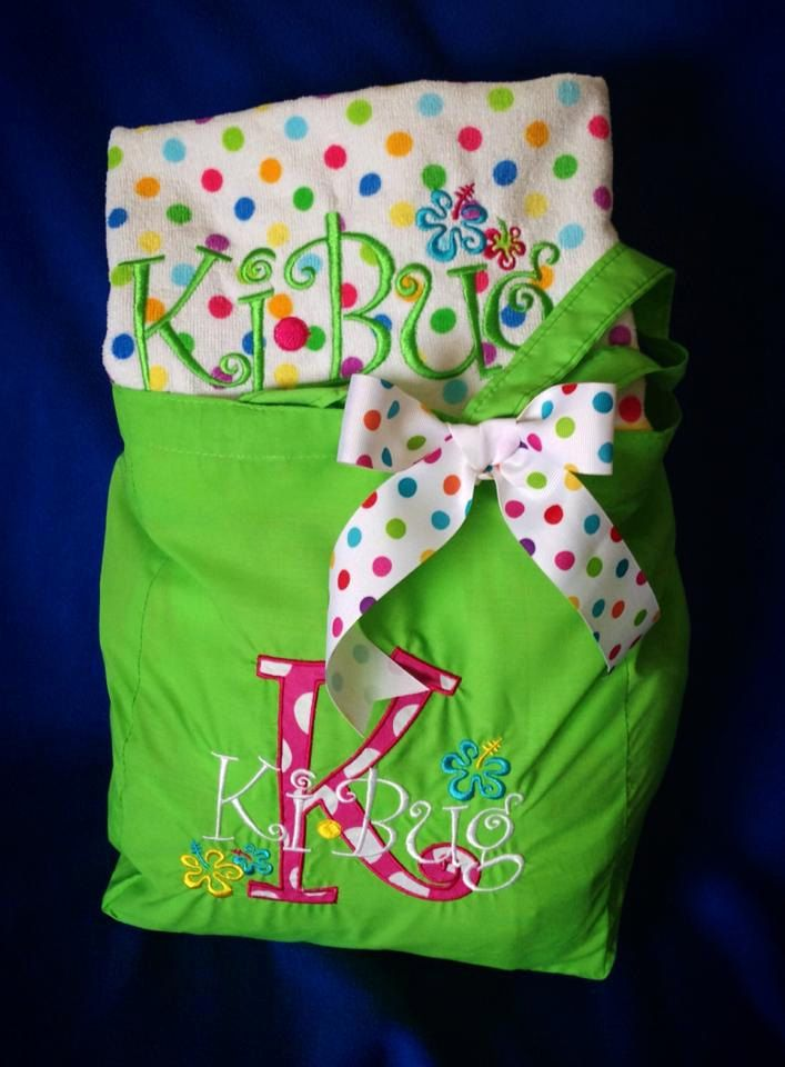 Beach Bag Gift Set by MonkeyFrogMonogram on Etsy, $42.00