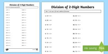 Division of 2 Digit Numbers Activity Sheet - maths