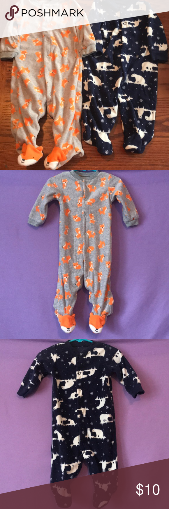 f8eeb1e5c3e9 Carter s Boys Fleece Footed Pajamas Size 6 months This is a set of 2 ...