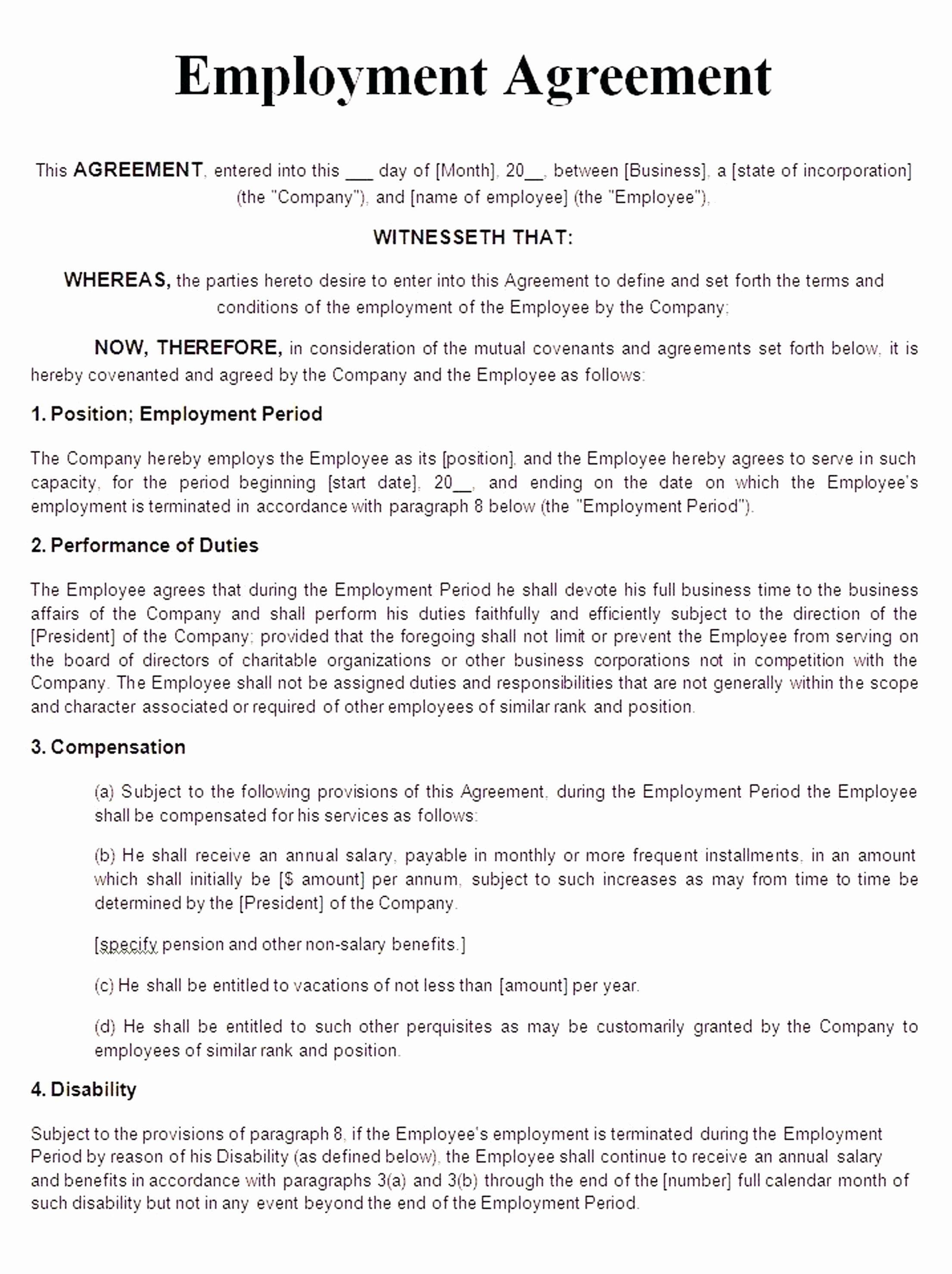 Non Profit Employment Agreement Template In 2020 Contract